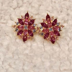 Joan Rivers floral earrings pink & blue LN